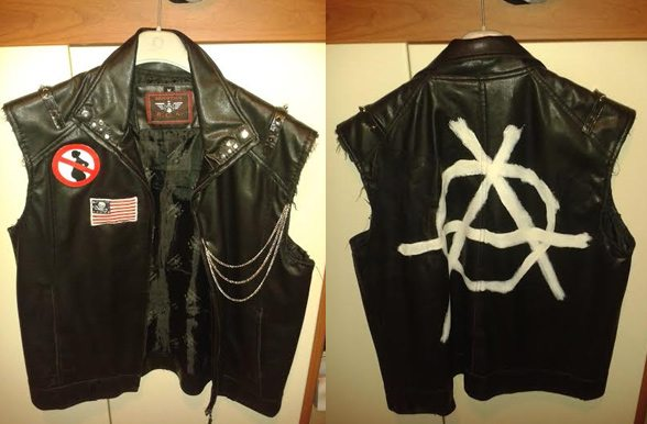 leather black american punk jacket