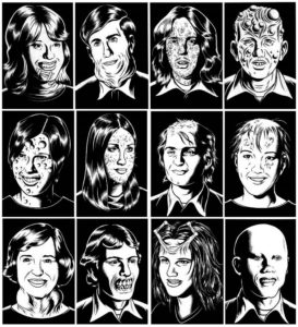 12 different faces on a black background