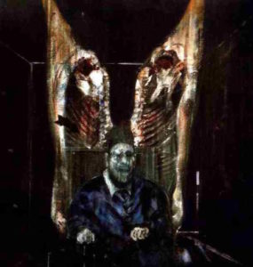 Francis Bacon Figure with 2 big Meat carcasses